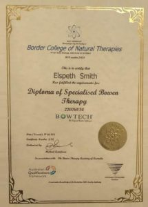 Eb Smith Diploma of bowen therapy